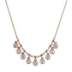 1.20 Carat Diamond Bezel-Set Swivel Drop Necklace
