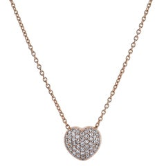 0.53 Carat Diamond Pave Heart Pendant Necklace