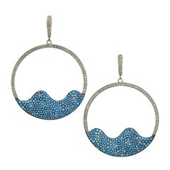 2.26 Carat Crushed Turquoise and Diamond Hoop Earrings