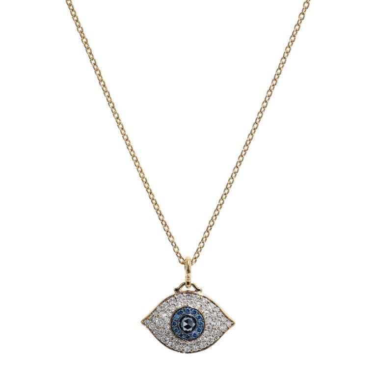 14 Karat Rose Gold Evil Eye Pendant Necklace on Chain