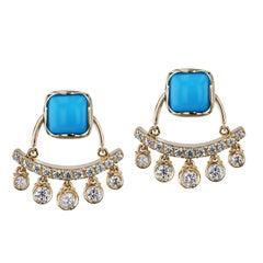 4.65 Carat Cushion Cut Turquoise and Diamond Dangle Enhancer Stud Earrings