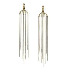 18 Karat Yellow Gold Multi-Chain Spike Design Dangle Earrings