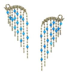 18 Karat Yellow Gold Multi-Strand Turquoise Dangle Earrings
