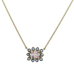 2.02 Carat Champagne Tourmaline and Aquamarine Pendant Necklace