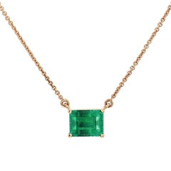 H & H 0.87 Carat Emerald Prong Set Pendant Necklace