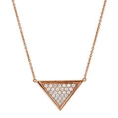 1.12 Carat Diamond Triangle Rose Gold Pendant Necklace