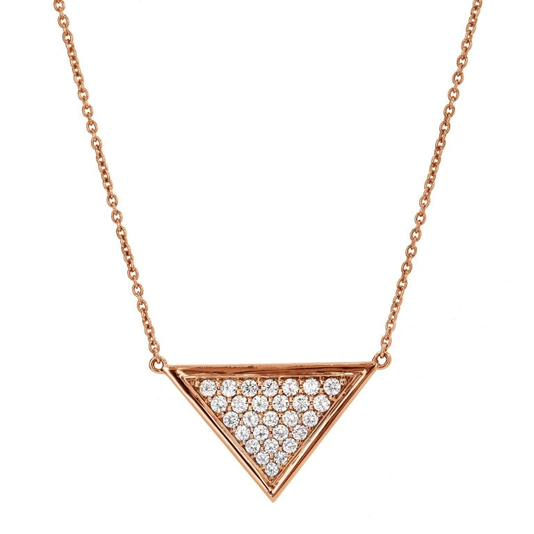 112 carat diamond triangle rose gold pendant necklace for sale at 112 carat diamond triangle rose gold pendant necklace for sale aloadofball Choice Image