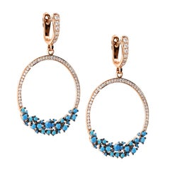 1.97 Carat Turquoise and Diamond Hoop Earrings