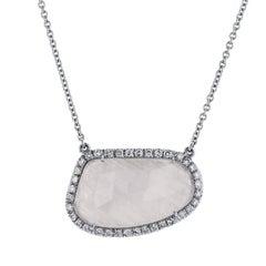 H & H 9.99 Carat White Sapphire Slice Pendant Necklace
