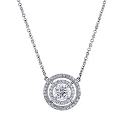 H & H 0.64 Round Diamond Pendant Necklace