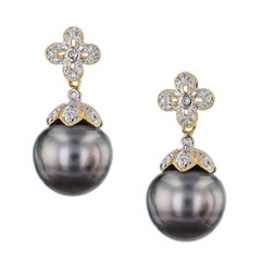 13.40 Millimeter Tahitian Pearl Drop Earrings