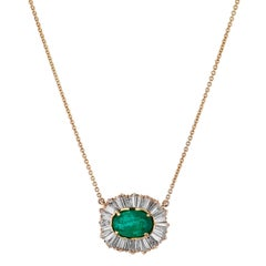 2.81 Carat Oval Emerald and Diamond Baguette Pendant Necklace