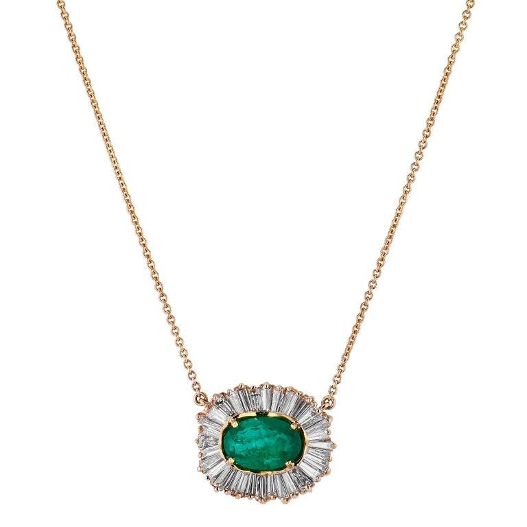 2.81 Carat Oval Emerald and Diamond Baguette Pendant Necklace