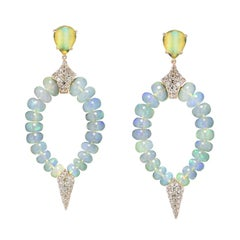 Opal and Brown Diamond Earrings