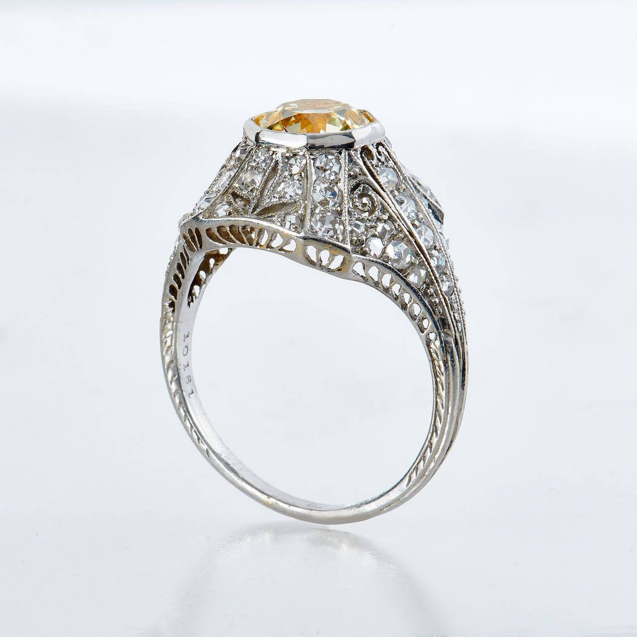 Art Deco 1.25 Carat Natural Fancy Yellow Old European Cut Diamond Platinum Ring For Sale