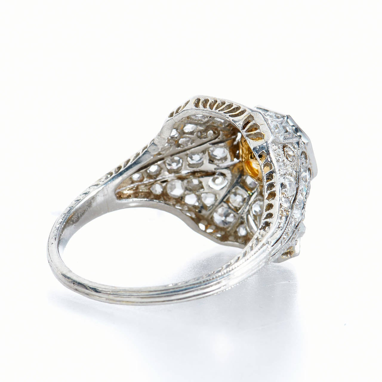 1.25 Carat Natural Fancy Yellow Old European Cut Diamond Platinum Ring In Excellent Condition For Sale In Miami, FL