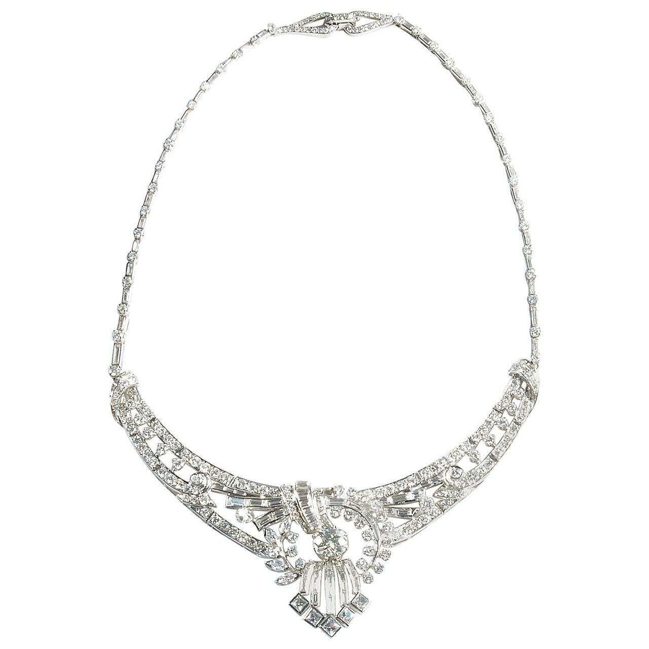 14.73 Carat Art Deco Diamond Platinum Necklace 1