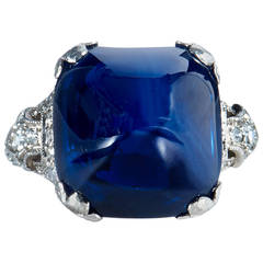 11.92 Carat Sugarloaf Cabochon No Heat Sapphire Art Deco Platinum Ring