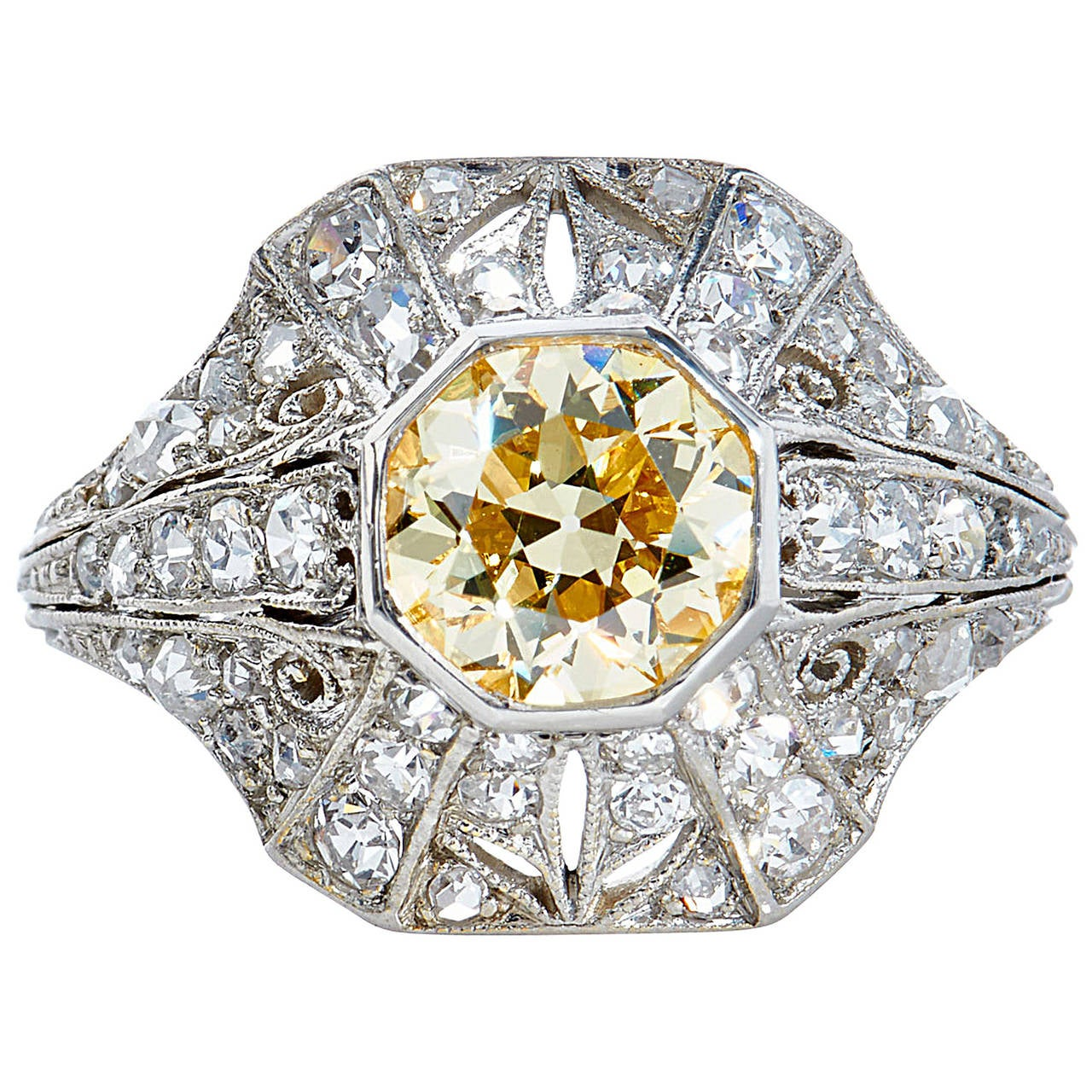 1.25 Carat Natural Fancy Yellow Old European Cut Diamond Platinum Ring For Sale