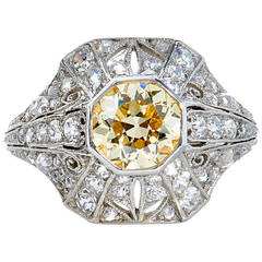1.25 Carat Natural Fancy Yellow Old European Cut Diamond Platinum Ring