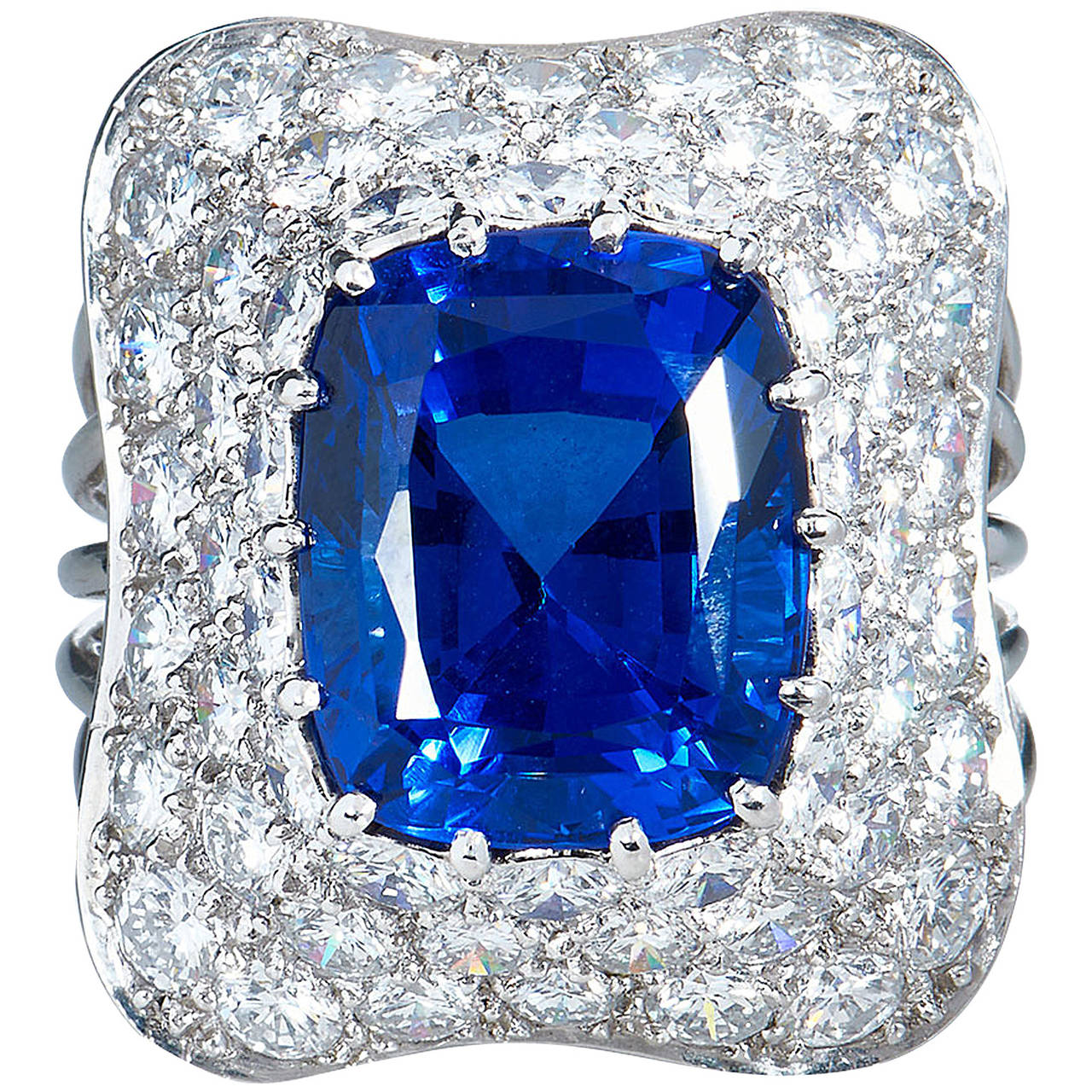 10.18 carat Cushion Cut Tanzanite Diamond Pave Platinum Ring