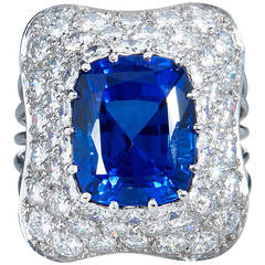 10.18 carat Cushion Cut Tanzanite Diamond Pave Platinum Ring