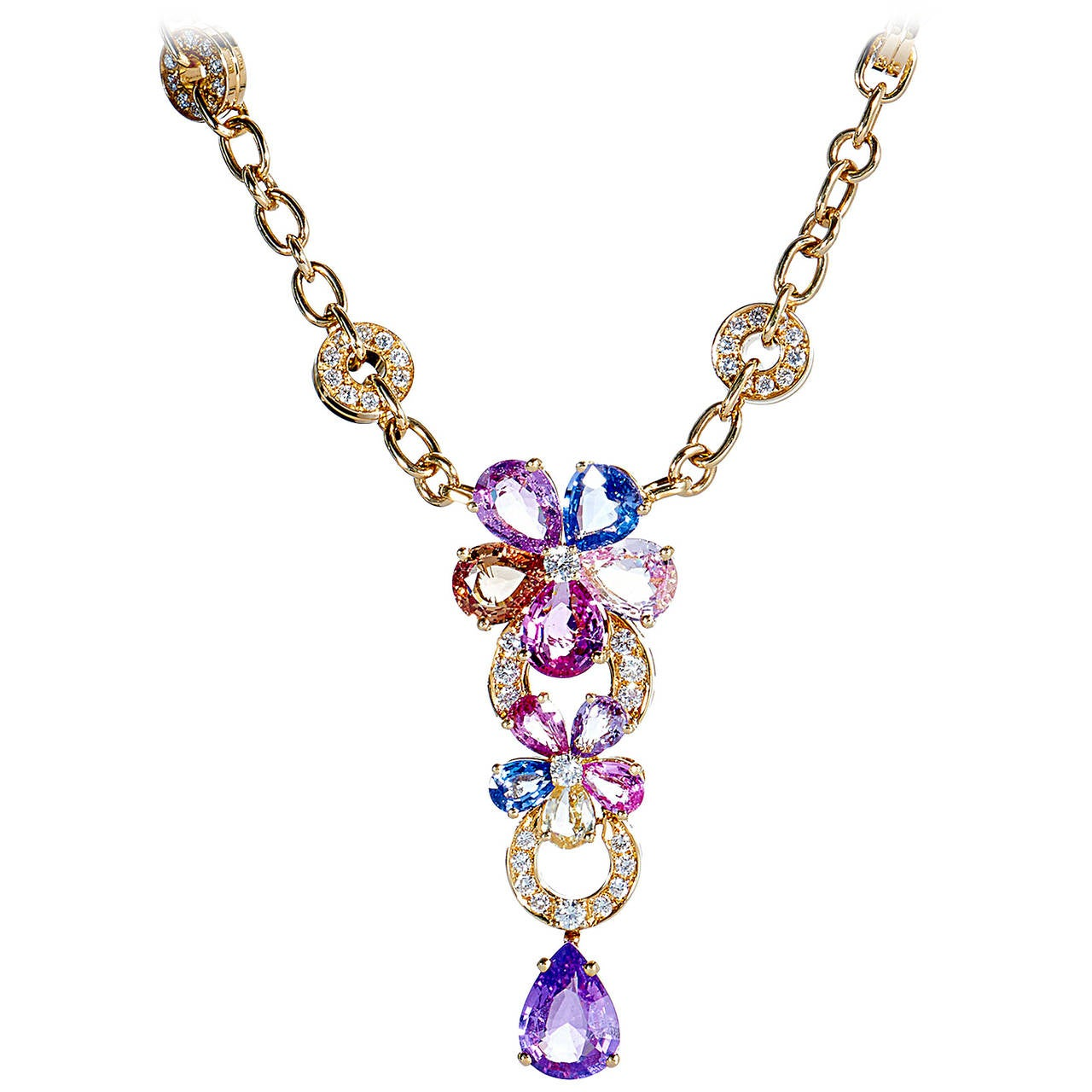 Bvlgari Multicolor Sapphire Flower Necklace At 1stdibs