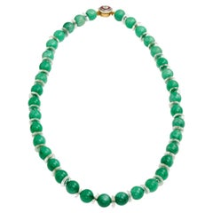 GIA Certified 5.64 Carat, 37 Natural Translucent Jadeite Bead Necklace Art Deco