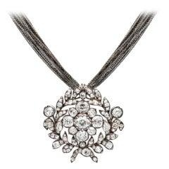 15 Carat Georgian Diamond Pendant Brooch
