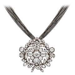 15 Carat Georgian Diamond Necklace and Brooch