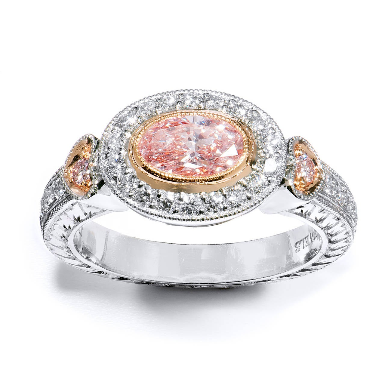 Light Pink Oval GIA Cert Diamond Gold Platinum Engagement Ring at 1stdibs