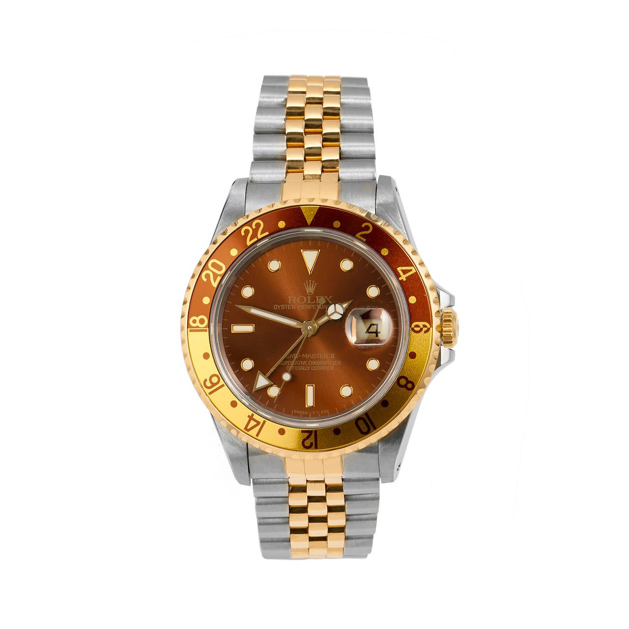 rolex yellow gold stainless steel gmt master 2 wristwatch. Black Bedroom Furniture Sets. Home Design Ideas