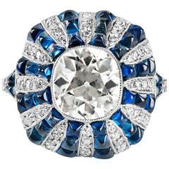 2.63 Carat Diamond and Sugarloaf Cut Sapphire Platinum Cocktail Rin