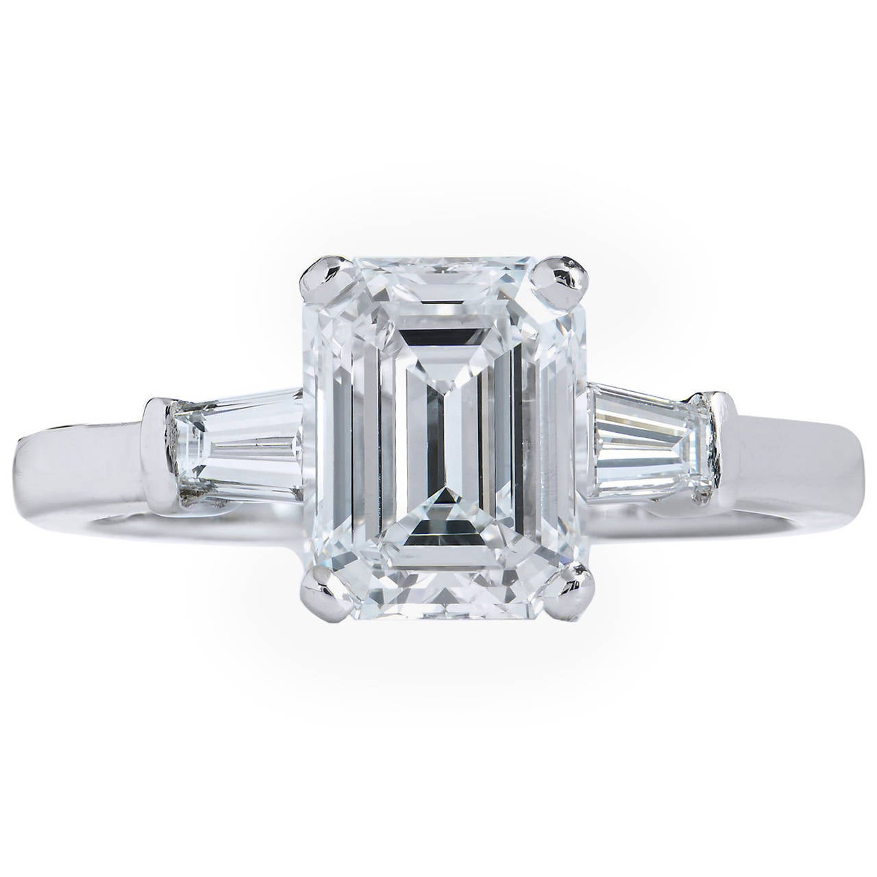 Bvlgari 2 01 Carat GIA Cert Emerald Cut Diamond Platinum Engagement Ring at 1