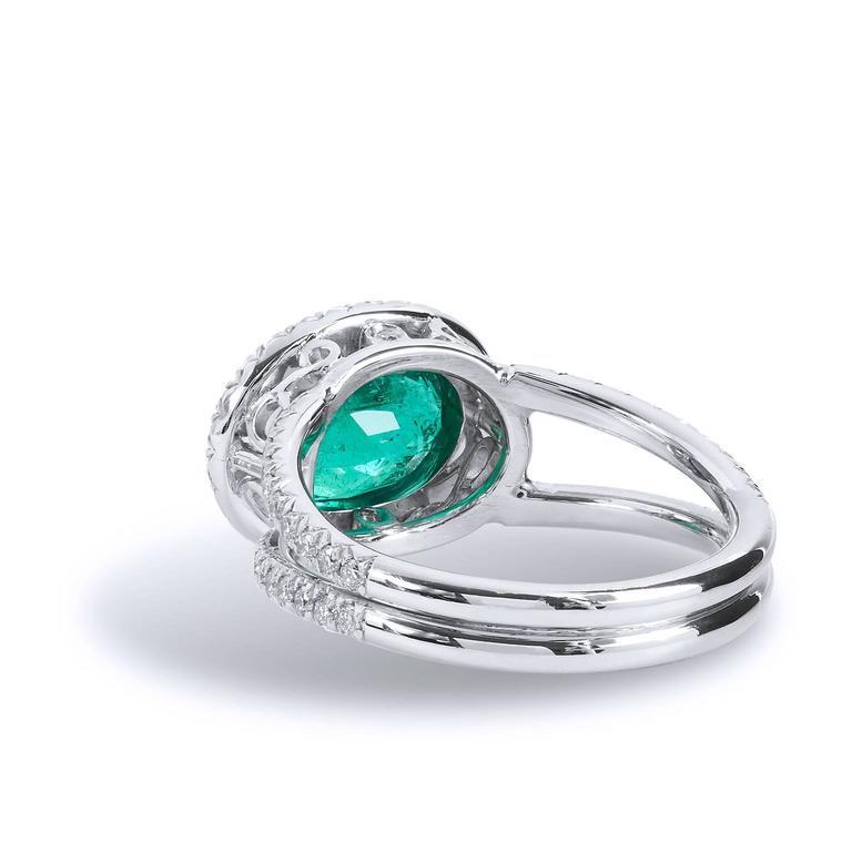 Women's 1.84 Carat Zambian Emerald Diamond Palladium Cocktail Ring For Sale