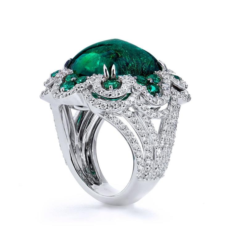 18kt white gold emerald and cocktail ring for sale