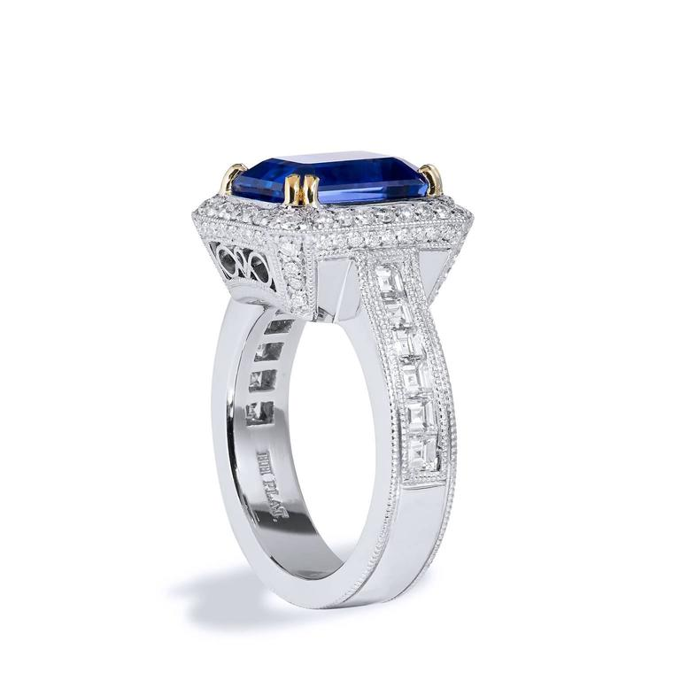 Art Deco 4.91 Carat Tanzanite Diamond Ring For Sale