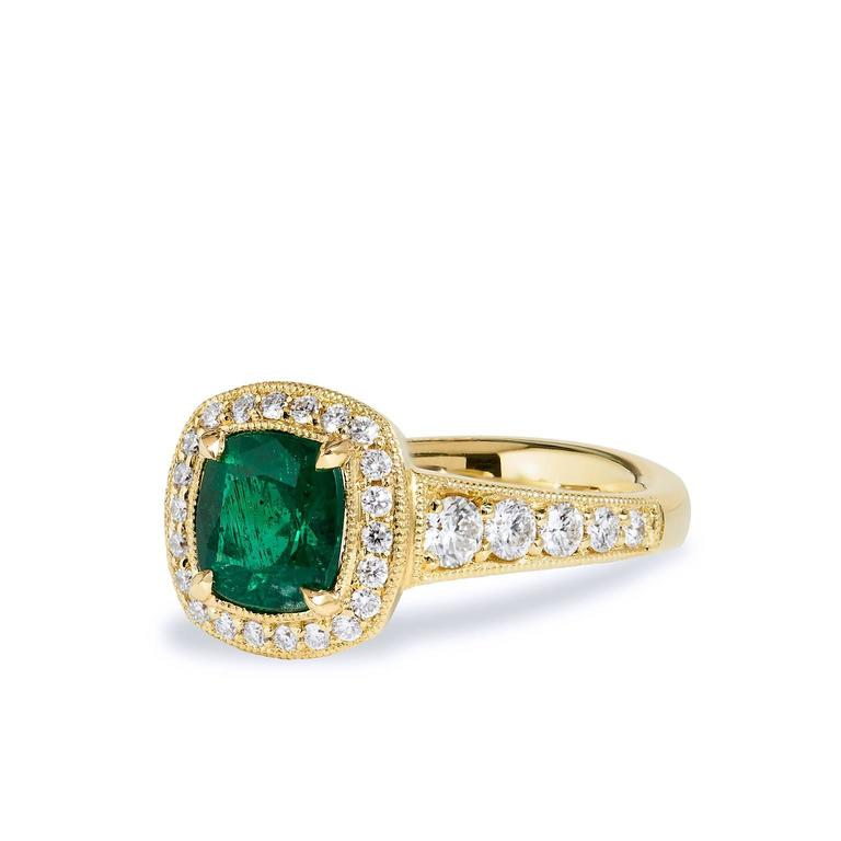GIA Certified Emerald Yellow Gold Ring In As New Condition For Sale In Miami, FL