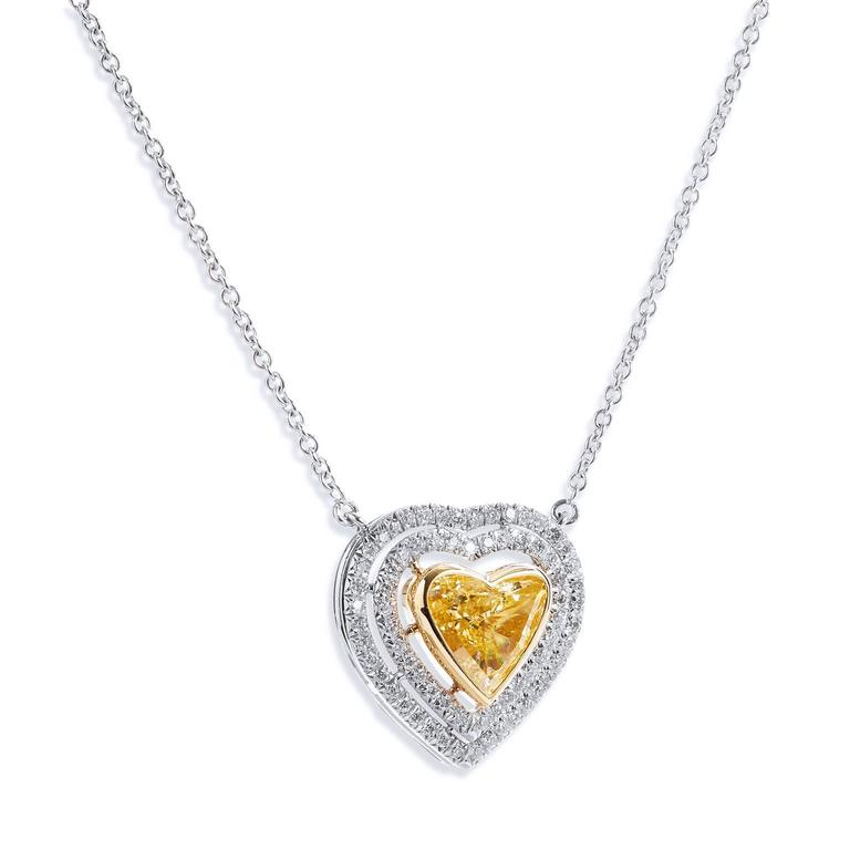 b1789c756c0e0 Natural Fancy Yellow Heart Shape Diamond gold Pendant For Sale. Handmade in 18kt  white gold