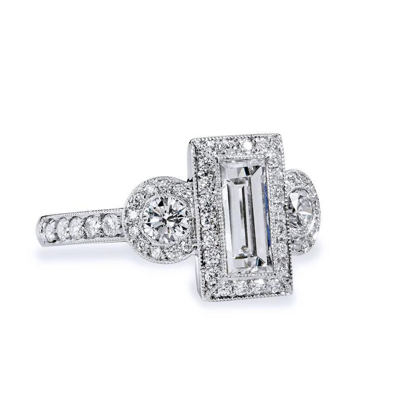 1 12 Carat GIA Cert Emerald Cut and Round Diamond Platinum Three Stone Ring a