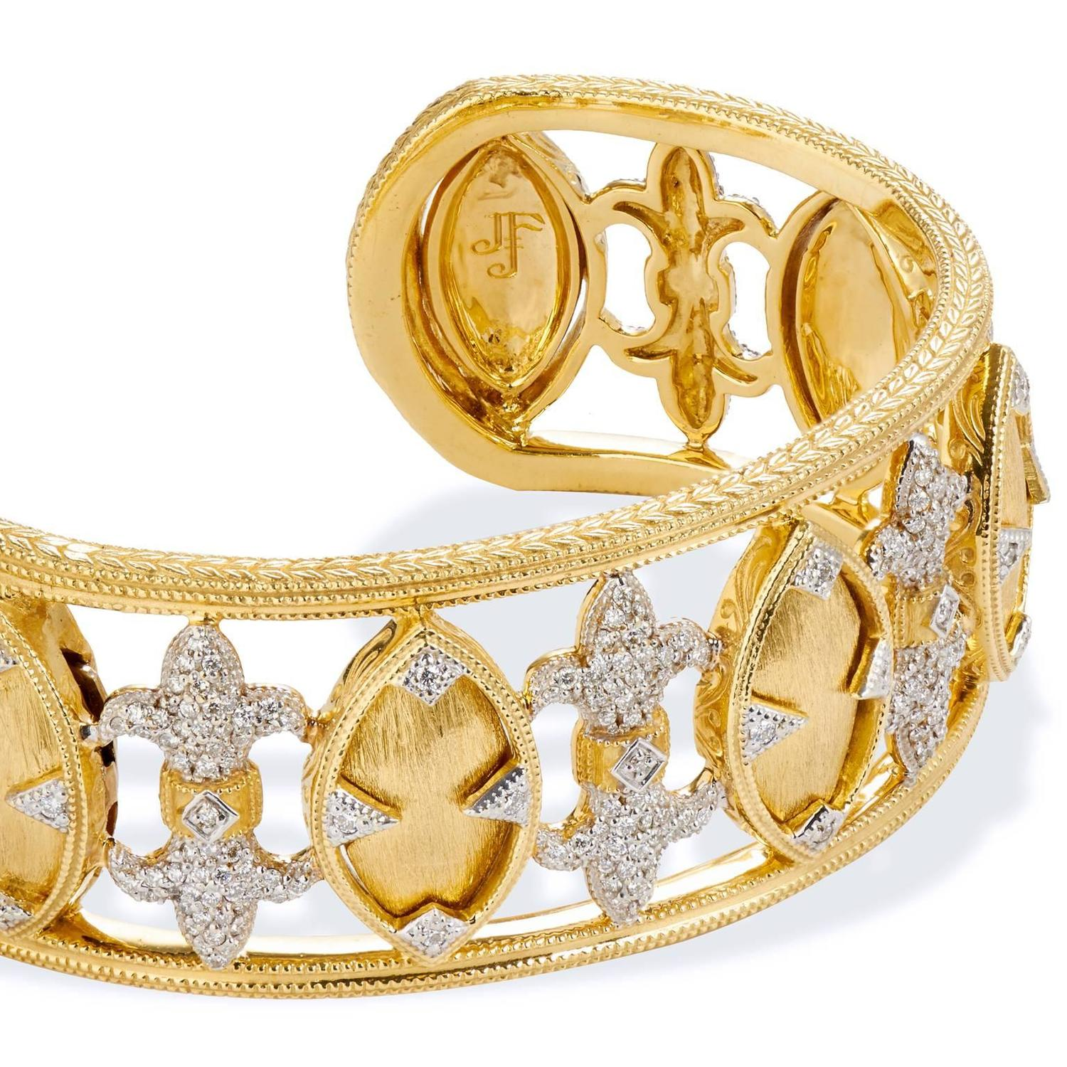 Jude Frances Marquis Fleur Diamond Gold Cuff Bracelet For Sale at 1stdibs