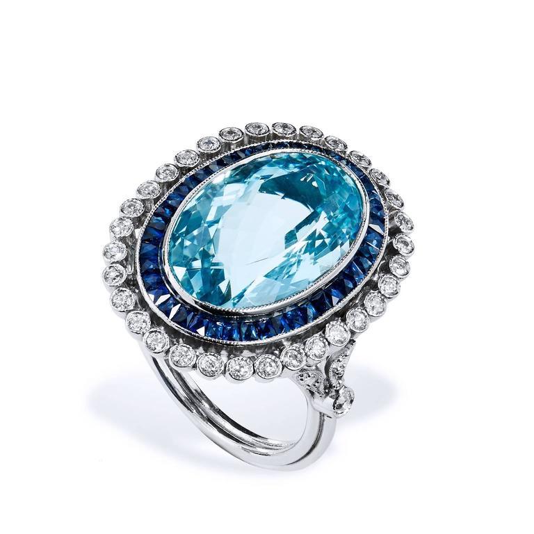 10.54 Carat Aquamarine Platinum Cocktail Ring 3