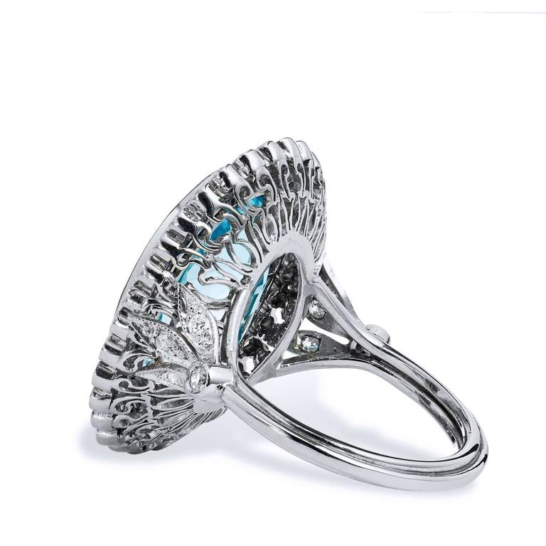 10 54 carat aquamarine platinum cocktail ring for sale at