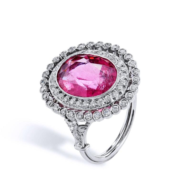 Pink Tourmaline Diamond Platinum Ring 3