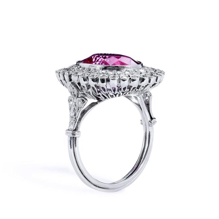 Pink Tourmaline Diamond Platinum Ring 4