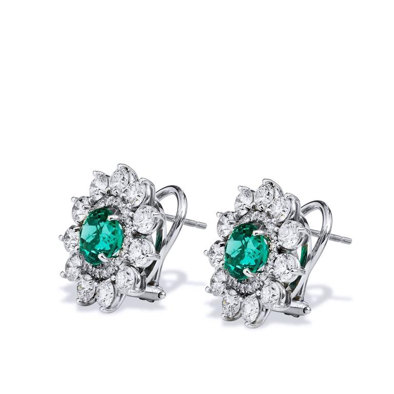 2.69 Carat Zambian Emerald with 3.46 Diamond Earrings in 18 karat White Gold  Handcrafted by H&H Jewels, these stunning earrings are created with 18 karat white palladium and feature a total of 2.69 carats of Zambian Emeralds.   The center gemstones