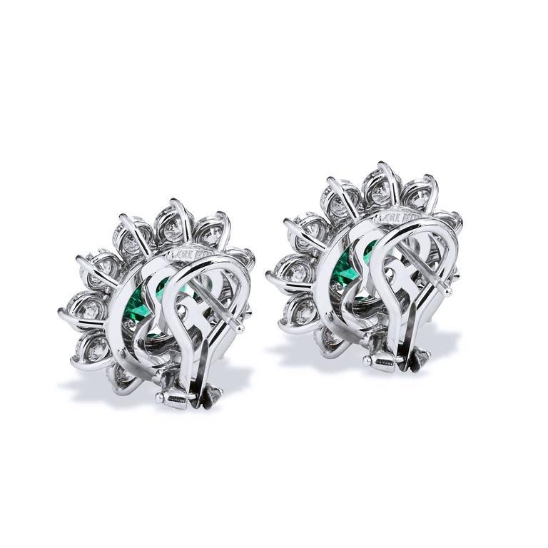 Women's 2.69 Carat Zambian Emerald with 3.46 Diamond Earrings in 18 Karat White Gold For Sale