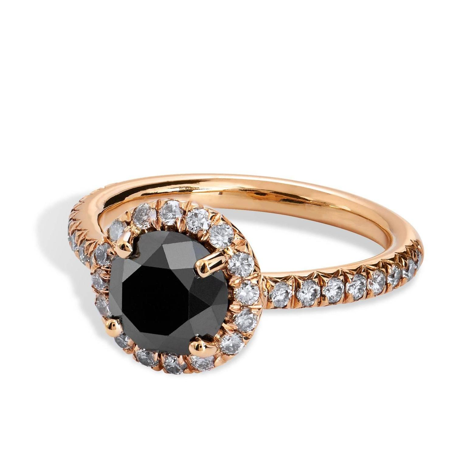 Black Diamond Rose Gold Ring For Sale at 1stdibs