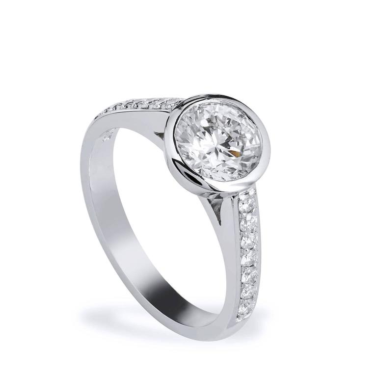 Round Cut GIA Certified 1.01 Carat Diamond and Pave Bezel Set Platinum Engagement Ring For Sale