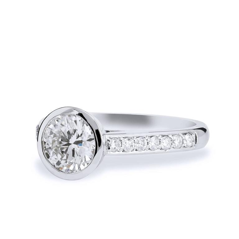 GIA Certified 1.01 carat Diamond and Pave Bezel Set Platinum Engagement Ring  This is a one of a kind, handmade ring by H&H Jewels.   It features a 1.76 carat Bezel Set Diamond with Pave & Marquis diamonds set in Platinum   Make a simple, elegant